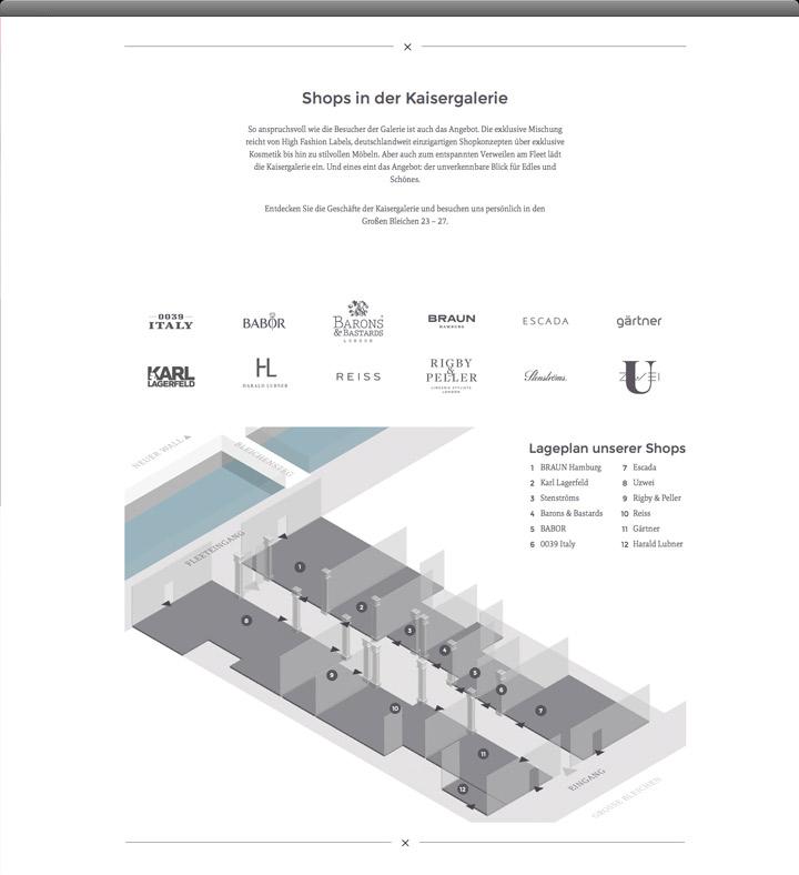 Kaisergalerie – Website Shops Übersicht