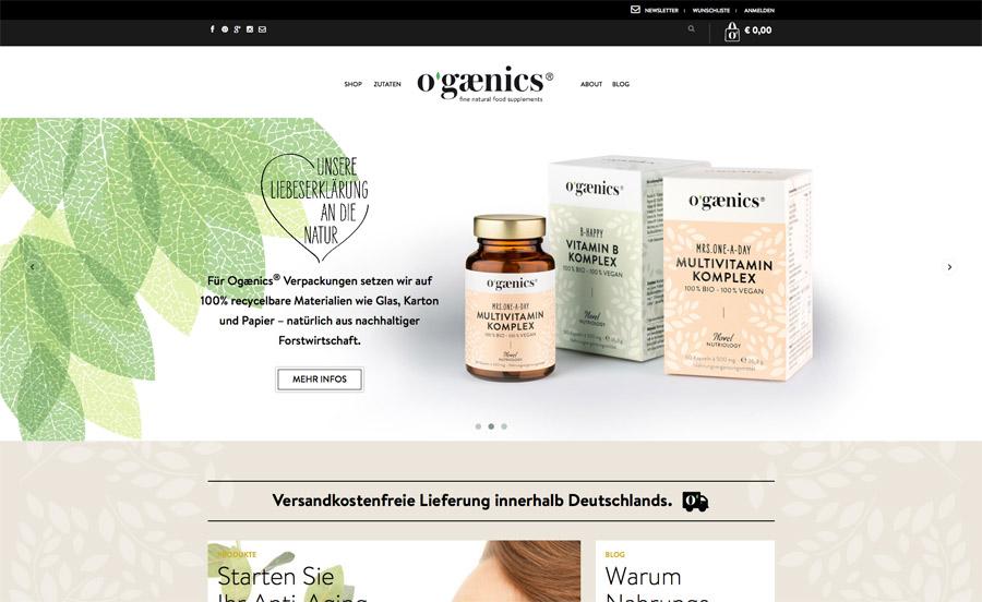 ogaenics Website Startseite