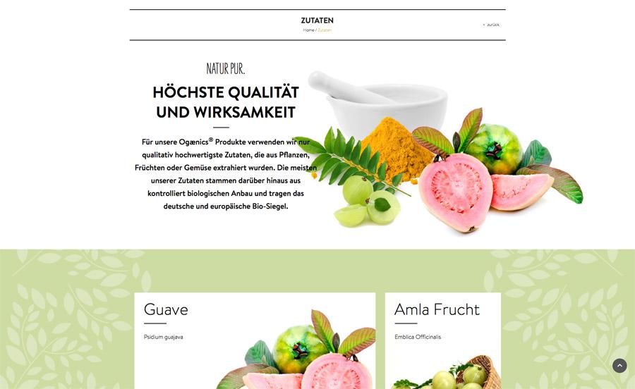 ogaenics Website Zutaten