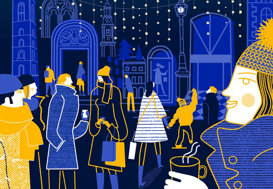 Passagenviertel Illustration Weihnachten