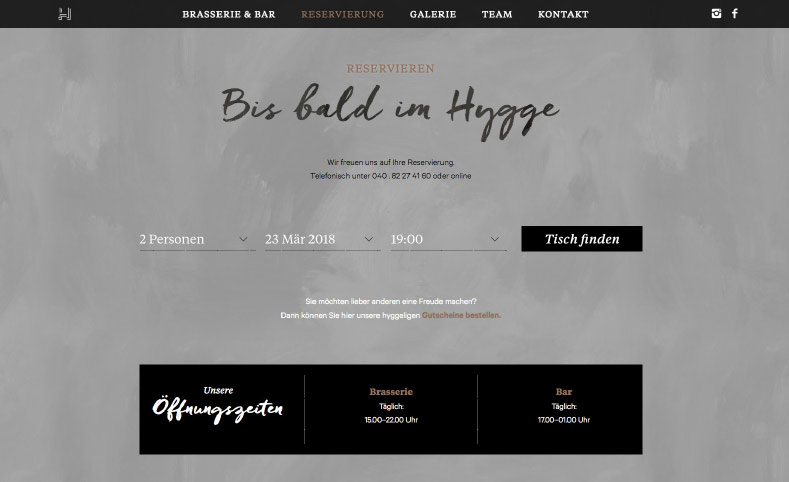 Hygge Website reservieren